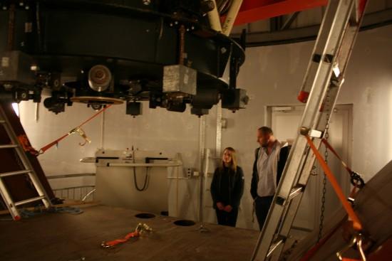 2015-05-21 Besök på Astro- institutionen (9) Visning av teleskop i vattentornet