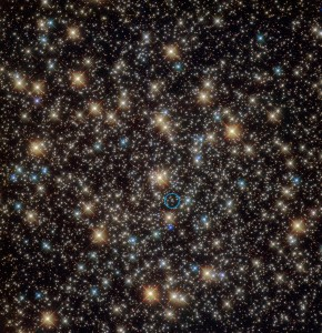 Hubble image of the globular star cluster NGC 3201 (annotated)