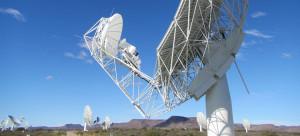 MeerKAT antenna with SKA Band 1 feed prototype