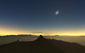 Artist's impression of the 2019 eclipse viewed from La Silla